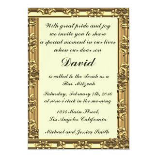 Invitations de barre/bat mitzvah de cadre d'or