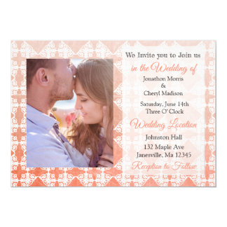 Invitations de corail de mariage de photo de
