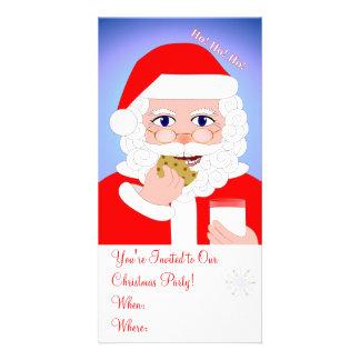 Invitations de fête de Noël de Père Noël Cartes De Vœux Avec Photo