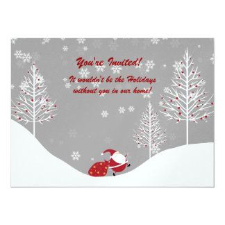 Invitations de fête de vacances de scène d'hiver carton d'invitation  13,97 cm x 19,05 cm