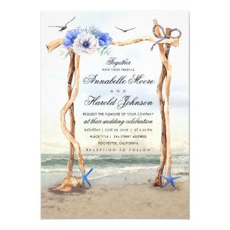 Invitations de mariage d'axe de plage