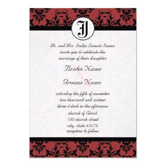 Invitations de mariage de photo de damassé de