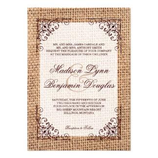 Invitations de mariage de toile de jute imprimées