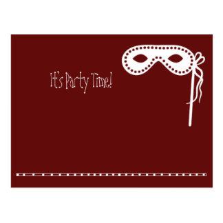 Invitations de masque de partie carte postale