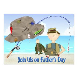 Invitations de partie de fête des pères de pêche carton d'invitation  12,7 cm x 17,78 cm