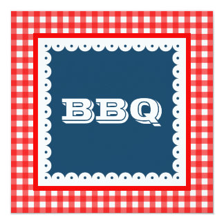 Invitations de partie de guingan de barbecue de
