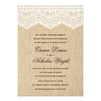 Invitations de toile de jute et de mariage de dent
