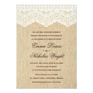 Invitations de toile de jute et de mariage de carton d'invitation  12,7 cm x 17,78 cm