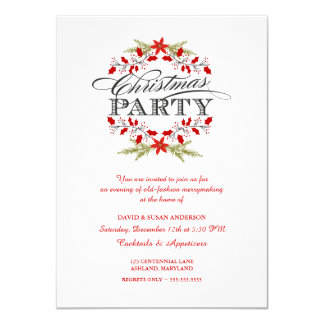 Invitations élégantes de fête de Noël de guirlande