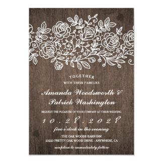 Invitations en bois de mariage de dentelle de