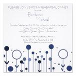 Invitations florales bleues de dîner de répétition carton d'invitation  13,33 cm