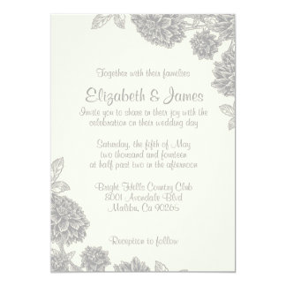 Invitations formelles de mariage de fleur carton d'invitation  12,7 cm x 17,78 cm