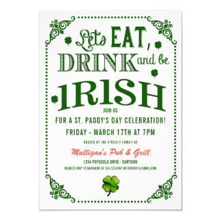 Invitations irlandaises de partie mangent/Drink/Be