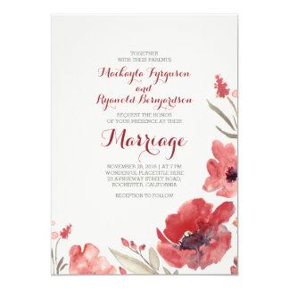Invitations mignons floraux de mariage d'aquarelle