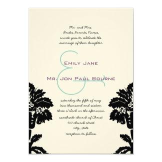 Invitations noires de mariage damassé