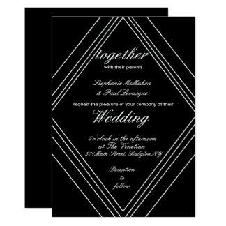 Invitations noires et blanches modernes de mariage