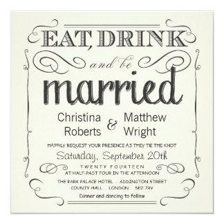 Invitations noires et crèmes vintages rustiques de carton d'invitation  13,33 cm