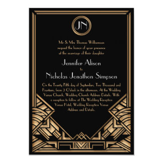 Invitations noirs de mariage de style de Gatsby