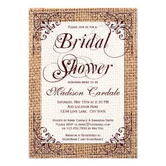 Invitations nuptiales de douche de toile de jute