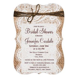 Invitations nuptiales de douche de toile de jute r
