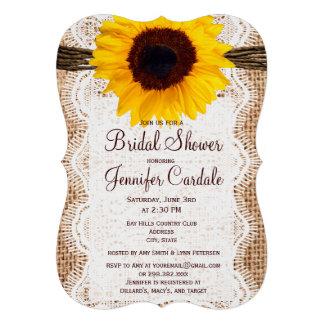 Invitations nuptiales de douche de tournesol rusti