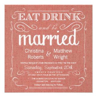 Invitations rustiques de mariage d abricot de toil