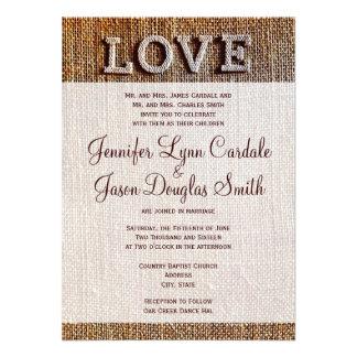 Invitations rustiques de mariage d AMOUR de toile
