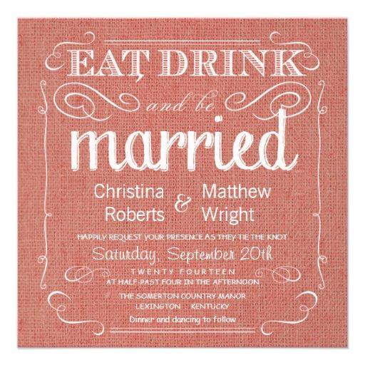 Invitations rustiques de mariage d'abricot de toil