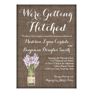 Invitations rustiques de mariage de pot de maçon