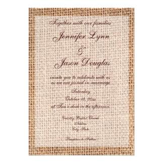Invitations rustiques de mariage de toile de jute