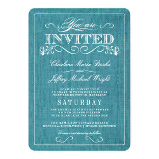 Invitations rustiques de mariage de toile de jute carton d'invitation  12,7 cm x 17,78 cm