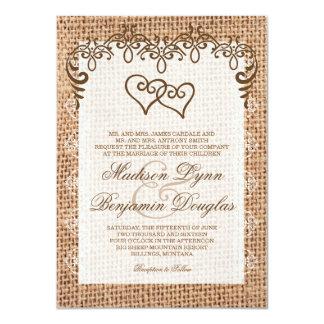 Invitations rustiques de mariage de toile de jute carton d'invitation  11,43 cm x 15,87 cm