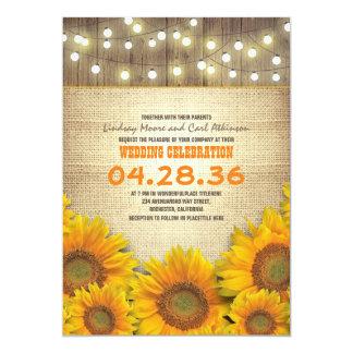 Invitations rustiques de mariage de tournesols