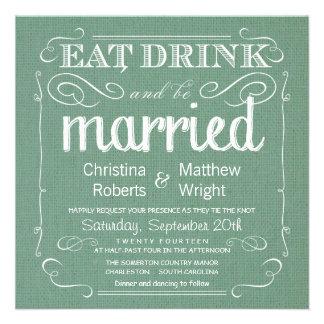 Invitations rustiques de mariage de vert sauge de