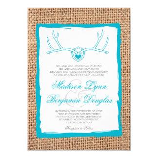 Invitations turquoises de mariage de toile de jute carton d'invitation  11,43 cm x 15,87 cm