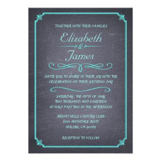 Invitations vintages de mariage de tableau d Aqua