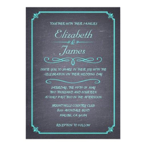 Invitations vintages de mariage de tableau d'Aqua