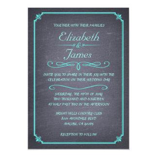 Invitations vintages de mariage de tableau d'Aqua Carton D'invitation 12,7 Cm X 17,78 Cm
