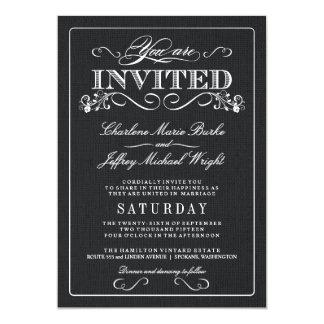 Invitations vintages de mariage de toile de jute carton d'invitation  12,7 cm x 17,78 cm