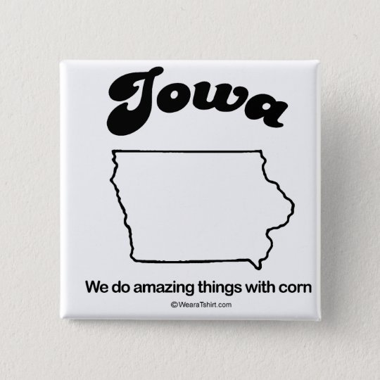 "IOWA - ""IOWA-STAATS-MOTTO"" T - Shirts und Gang Quadratischer Button 5,1 Cm"