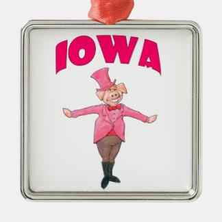 Iowa-Schwein Silbernes Ornament