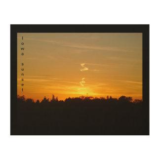 Iowa-Sonnenuntergang-hölzerne Wand-Kunst Holzdruck