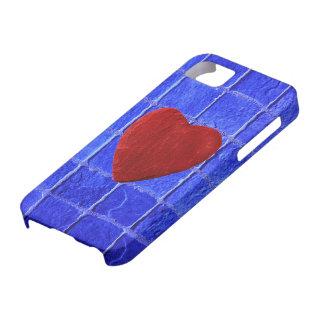 iPhone 5 Blaue Fliesen Hintergrund mit Herz Barely There iPhone 5 Hülle