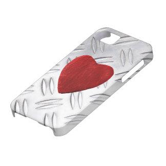 iPhone 5 Riffelblech Hintergrund mit Herz iPhone 5 Etui