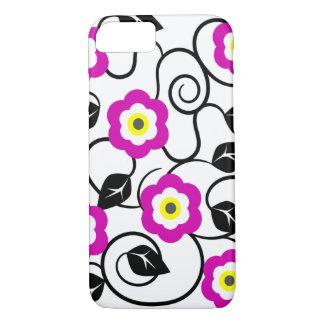 iPhone 7 lila Blumen-und Schwarz-Blätter-Kasten iPhone 8/7 Hülle