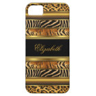 iPhone elegantes nobles Gold gemischter Tierdruck iPhone 5 Etui