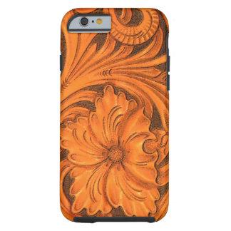 iPhone en cuir usiné floral 6 de Faux
