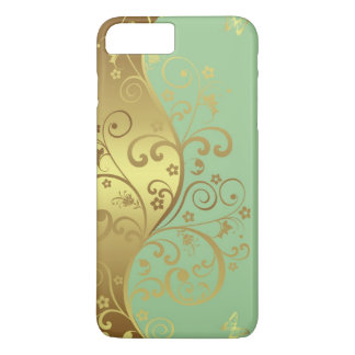 iPhone Hülle--Seafoam u. GoldWirbel iPhone 8 Plus/7 Plus Hülle