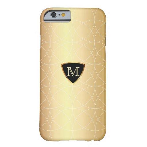 iPhone moderne de motif de Geo d'or de monogramme Coque iPhone 6 Barely There