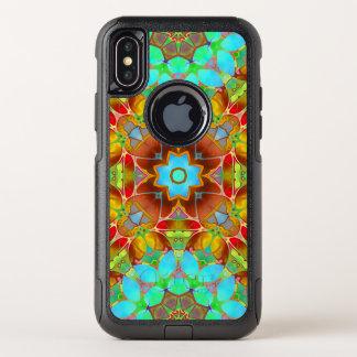 iPhone X Pendler-Fall-BlumenFraktal-Kunst G410 OtterBox Commuter iPhone X Hülle